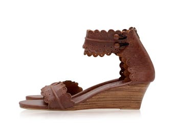 MAGDALENA. Brown leather sandals / leather wedge shoes / wedge sandals / women shoes / boho style / bridal. Available in different colors
