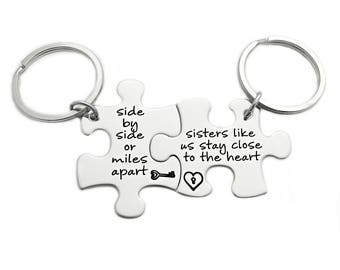 Side By Side Or Miles Apart, Sisters Like Us Stay Close To The Heart Puzzle Piece Key Chain Set of 2 - Engraved Stainless Steel - 1081