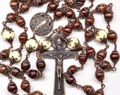 Five Decade Catholic Rosary, 224 Copper Bead Caps, Our Lady Copper Center, 3 Inch Holy Spirit Crucifix, 53 Wood & 6 Lg Cream Glass Beads