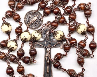 """5 Decade Catholic Rosary, 236 Layered Copper Bead Caps, Our Lady 1"""" Center, 3"""" Holy Spirit Crucifix, 53 Wooden & 6 Large Cream Glass Beads"""