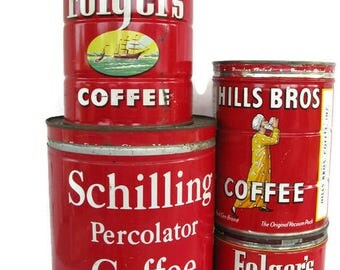 4 red coffee cans large Schilling Percolator Coffee 4 pounds red 1950s