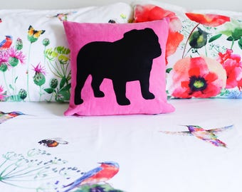 Bulldog silhouette, personalized english bulldog pillow, fluo pink and black, dog pillows
