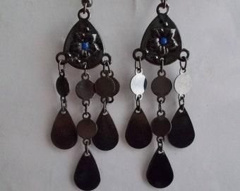 Black Chandelier Earrings with Black Teardrop Dangles