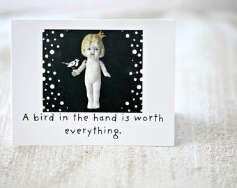 "Claudia Adventures Doll Card ""Bird In The Hand"" Bisque Dolls Photography Stationary (1)"