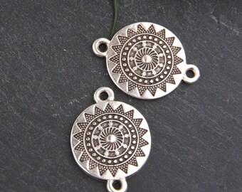 Silver, Round Mandala Patterned Tribal Connector, Mandala Connector, Tribal Link, 2 pcs // SC-204