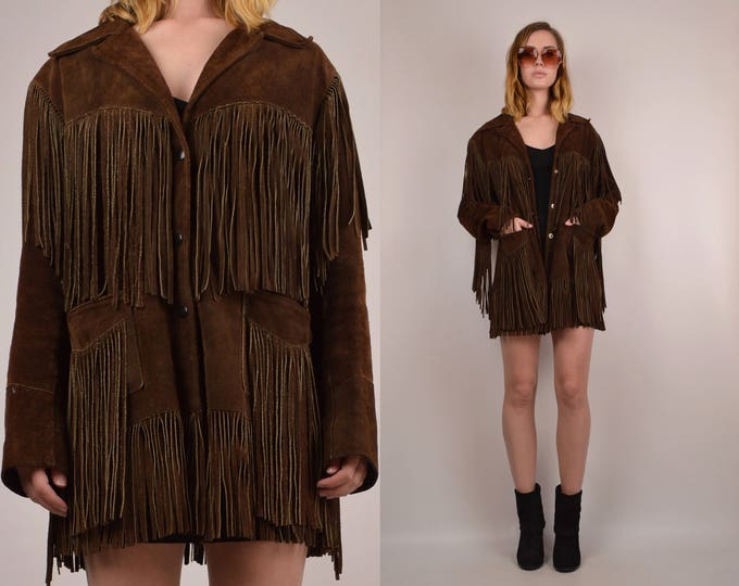 20% OFF  SALE Vintage 70's Suede Fringe Jacket