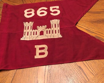 Original   865 Co B Army Engineer Battalion Guidon Flag Banner Pacific Wool