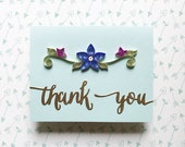 Paper Quilled Thank you card, blue and purple quilled flowers