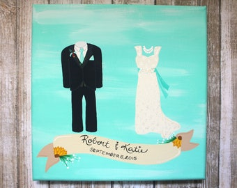 Custom Wedding Portrait Canvas 8x8 Painting MADE TO ORDER Custom Wedding Gift Anniversary Gift Acrylic Hand Painted