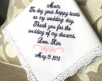 Mother of the Bride Handkerchief-Hankerchief-Hanky-Hankies-Wedding Handkerchief-Wedding Hanky-Wedding Hankies -WEDDING of my DREAMS