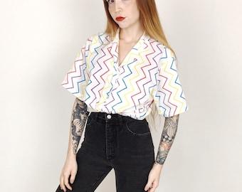 80's Vintage Rainbow Zig Zag Striped Blouse Shirt // Women's size Medium M