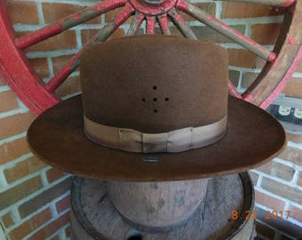 Vintage Stratton Brown Campaign Trooper Self Forming Felt Hat - circa 1960 - from DustyMillerAntiques