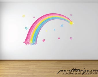 Watercolor Rainbow Wall Decal,Removable fabric Wall Decal, Girls Rainbow wall art