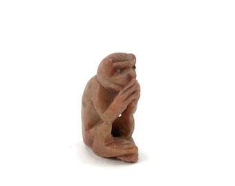 Carved Bone Monkey Fob or Pendant Chinese Antique Netsuke