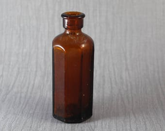Small Vintage Dark Brown Glass Octagonal Shaped Bottle Apothecary Medicine with Cork Style Top Hinge Moulded