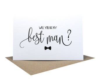 Will you be my Best Man Card | Wedding Card | Script Font Bow Tie | WED058 | Best Man Card | Groomsman Card | Card Best Man | Wedding Cards