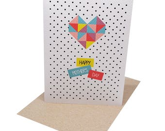 Mother's Day Card | Card for Mum | Geometric Love Heart | Mothers Day Card | Card for Mum | Handmade Card | Happy Mother's Day | HMD009