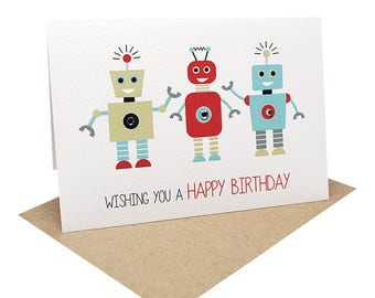 Birthday Card Boy - 3 Robots - HBC192 / Wishing you a Happy Birthday