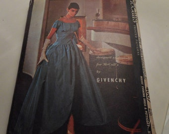 SALE Vintage 1950's McCall's 4007 Givenchy Dress Sewing Pattern, Size 14 Bust 34