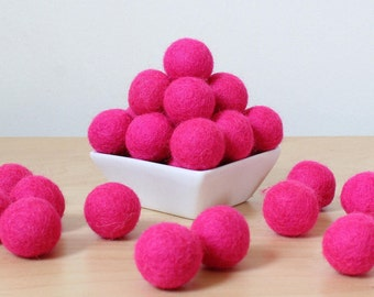 2.5 cm Hot Pink Wool Felt Balls, Felt Balls, Pom Pom Balls, Wool Felt Pom Poms, Felted Balls, Loose Felt Balls, Pick Your Own Colors