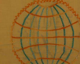 100 Lb Flour Sack Towel. Globe Flour Sack Table Cover. Embroidered Flour  Sack Towel