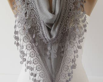 Grey Lace Scarf Cotton Scarf Lace Scarf Triangle scarf  Christmas Gift Fashion Accessories Gift Ideas For Her for mom DIDUCI