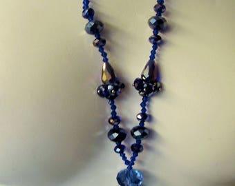 Czechoslovakian Crystal Necklace Blue Rhinestones Statement Piece 1940's