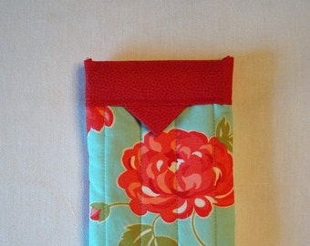Teal and Red Floral Eyeglass/Glasses Case