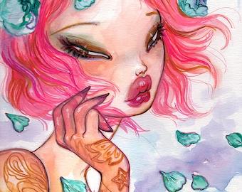 Drifting Away, Pop surrealism FANTASY  Fine Art Print  Natasha Wescoat 8x10 12x16 13x19 16x20