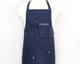 Denim Work Apron - Vintage Distressed Dark Blue Smock