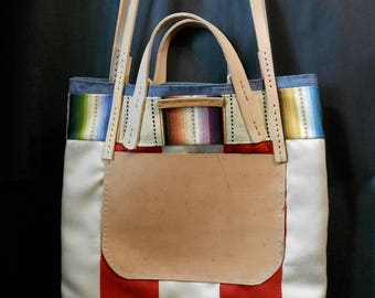 Baja Coastal Stripe Tote: Waxed Canvas+ Vegetable Tanned Leather Straps