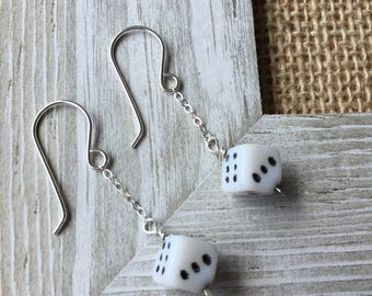 Dice Earrings Dice Jewelry Sterling Silver Earrings Silver Earrings Gambling Jewelry Lady Luck Jewelry Cute Earrings Made in USA