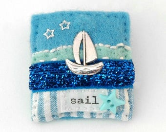 boat brooch, sail boat, nautical gifts, sailing ship brooch, yacht, blue brooch, jewellery handmade, summer jewelry, British made, seaside