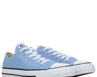 Custom Converse Periwinkle Blue Cornflower Low Top Ladies Mens Bling w/ Swarovski Crystal Rhinestone Chuck Taylor All Star Sneakers Shoes
