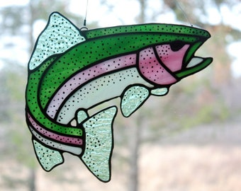 Stained Glass Rainbow Trout, Gifts for Men, Wildlife Art, Glass Art, Stained Glass Fish