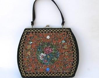 Vintage Purse, Hand Decorated Original by Caron of Houston, Texas, Black Bag