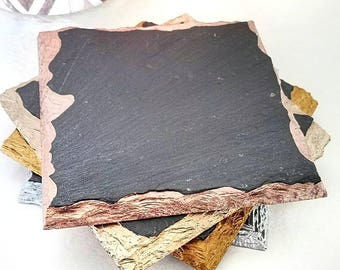Modern Chic Slate Coasters - Wine, Coffee, Birthday, Mother's Day, Metallic, Valentine's Day, Rose Gold, Gold, Champagne, Silver
