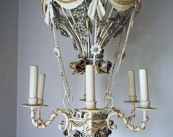 Paris hot air balloon chandelier lighting tole rose and rhinestone vintage star jewelry embellished circa 1950 home decor anita spero design