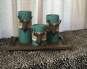 Wooden Candleholders (set of 3)  Aqua Glaze with Metal Deer Head