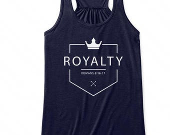 Royalty, Romans 8 Scripture Tank Top, Faith, Women Modern Workout Apparel, Illustrated Faith Christian T-shirt, Fitness Gift for Her