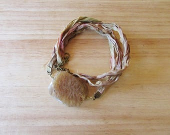 Sari Silk Ribbon Wrap Bracelet with Large Glass Bead