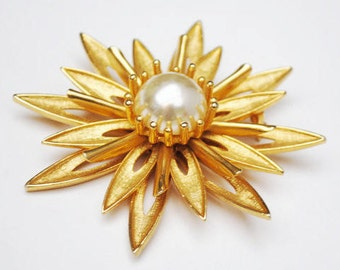 Cathe Flower Brooch - Gold and Pearl - Large Floral signed  pin