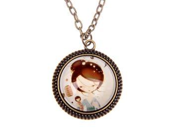 Japanese girl Necklace, Kokeshi necklace, 2525C