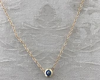 gold dainty small blue eye evil eye necklace gold nazar arabic