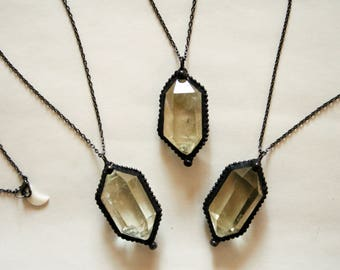 Clear Double Terminated Citrine Crystal Necklace // Framed Crystal Double Point Citrine Necklace