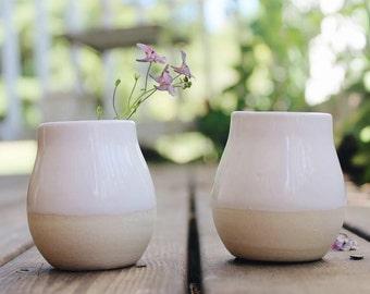 Set of 2 Bud Vases in White