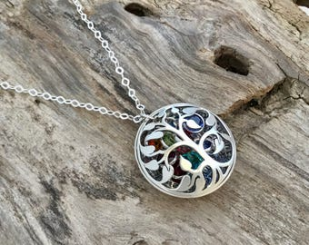 Mother Necklace with Birthstones |Family Tree Birthstone Necklace | Family Tree Mom Necklace | Tree of Life Necklace| Christmas Gift for mom