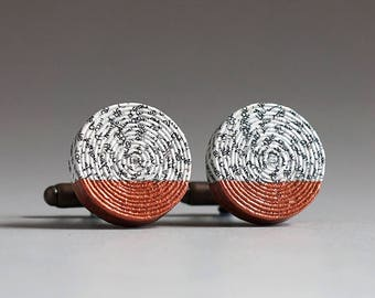 7th Wedding Anniversary Gift, Personalised Paper and Copper Cufflinks with Custom Engraving