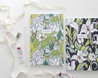 Notebook Custom Bundle of 2 // Floral Hand-Illustrated Journal // Botanical Notes Diary // Softcover Book // School Journal, Teacher Gift