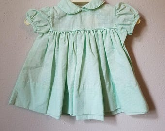 Vintage Baby Girl  Green Dress with Swiss Dot Print and Peter Pan Collar by C.I. Castro - Size 0 Newborn - New, never worn